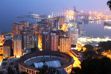 City of Malaga at night. Andalusia, Spain