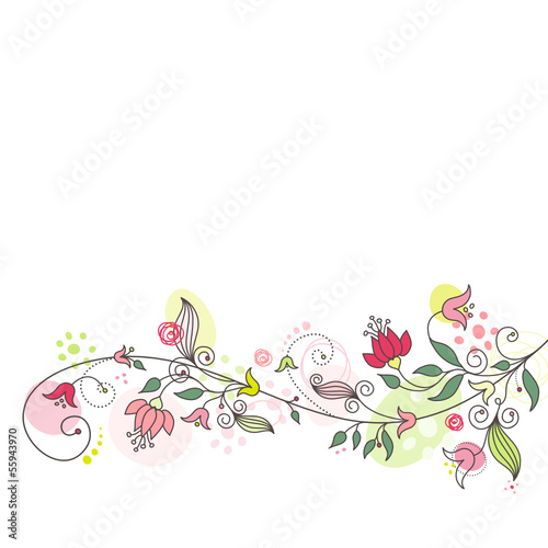 Floral Card Pink/Green Horizontal