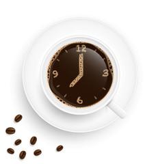Uhr Kaffee Tasse mit Bohnen