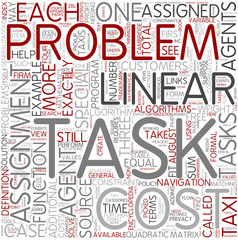 Assignment problem Word Cloud Concept