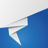 Origami banner on blue background