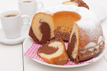 Gugelhupf Round Cake and Espresso Coffee