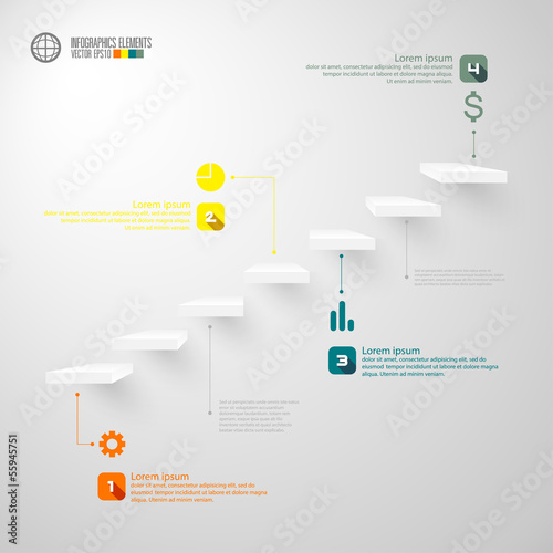 Modern infographics staircase, vector illustration.