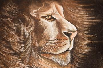 dessin lion à la craie sur troitoir
