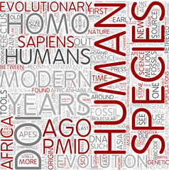 Human evolution Word Cloud Concept