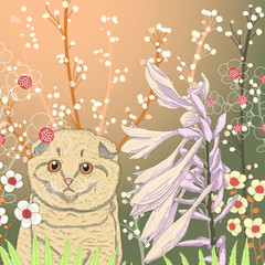 Vector illustration of a kitten in the garden