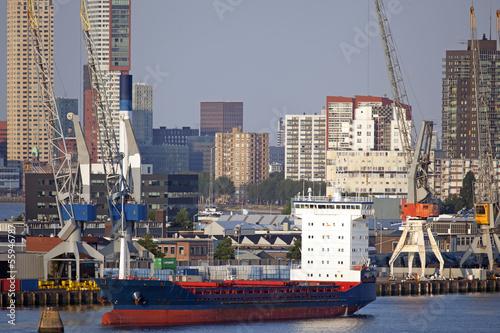 canvas print picture Skyline von Rotterdam, Niederlande
