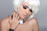 Fashion Beauty Blond Girl. Woman Portrait with White Short Hair.