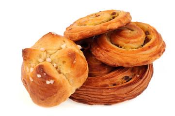 Brioche au sucre et pains aux raisins