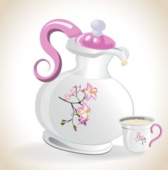 Teapot and cup of milk