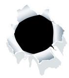Hole in white paper. Vector.