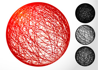 Red ball on white background. vector