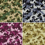 Camouflage seamless patterns.