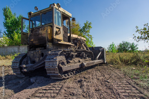 Bulldozer isolated on white