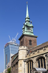 All Hallows by the Tower Church and the Walkie Talkie Builing in