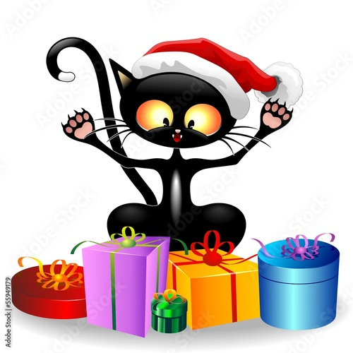 Cat Cartoon with Christmas Gifts-Gatto con Regali di Natale
