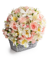 Bouquet of beautiful flowers in basket