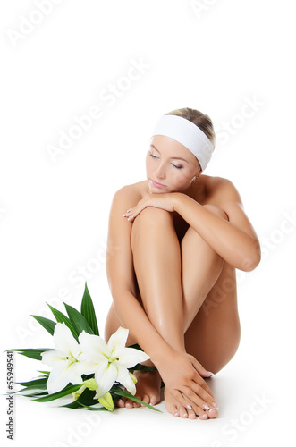 Spa beautiful woman isolated on white