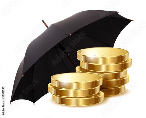 coins under a black umbrella