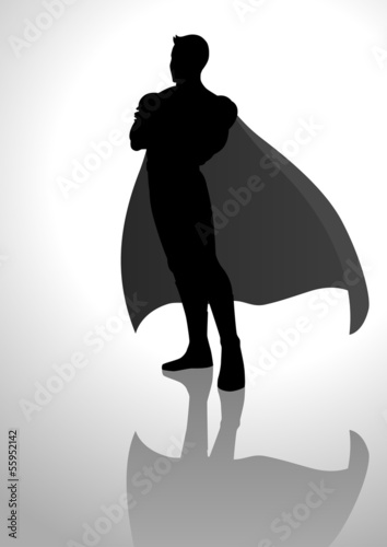 Silhouette illustration of a superhero posing