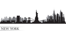 Papier Peint - New York city skyline detailed silhouette