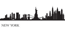 Fototapete - New York city skyline silhouette background
