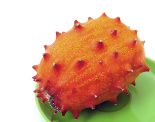 kiwano on a plate isolated