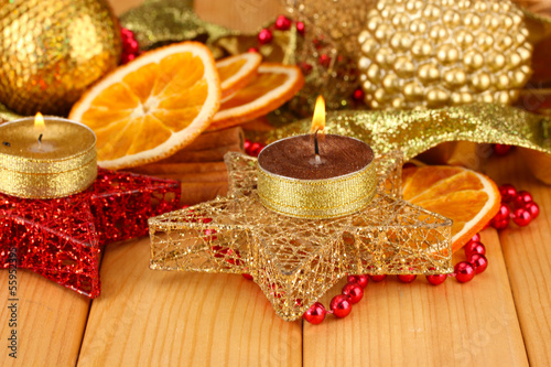 Christmas composition  with candles and decorations