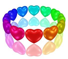 Kreis aus bunten Herzen