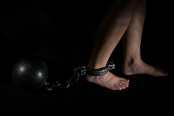 Legs in heavy iron shackles on dark background