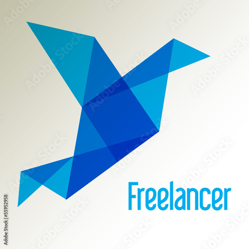 Freelancer Vogel Origami LOGO Blau