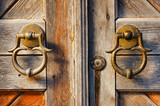old brass door handles