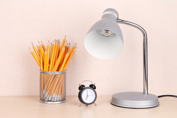 Table lamp in room