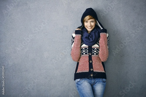 Attractive young woman in nordic sweater