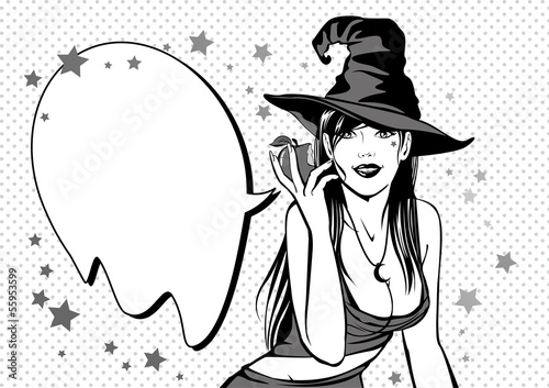 Vintage sexy witch with poisoned apple