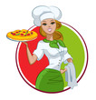Woman pizza cook
