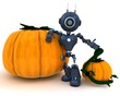 Android with holiday pumpkin