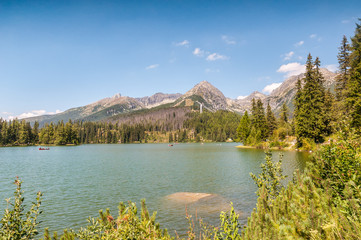 Beautiful Lake Strbske Pleso in High Tatras of Slovakia