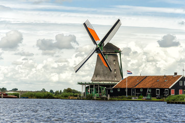 Ols Windmills in a old Dutch Village