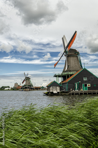 Old Windmills in a old Dutch Village