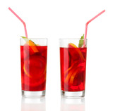 sangria in glasses, isolated on white