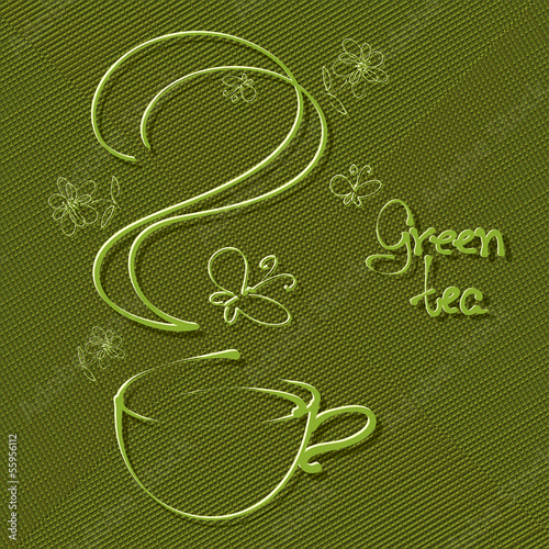 A cup of tea on green textured background, freehand