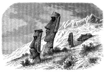 Moai Statues - Easter Island - 19th century