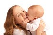 Happy cheerful family. Mother and baby kissing isolated