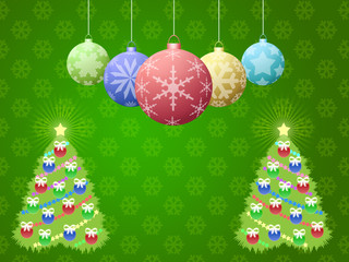 Christmas background with fir trees and balls