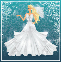 Beautiful fashion bride on a blue background.