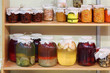 Jars of jam, stewed, braised meat and pickled mushrooms