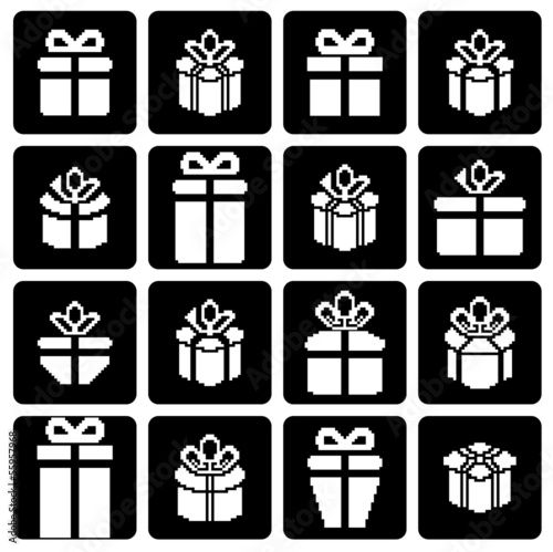 Gift box pixel icons, holiday presents.