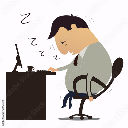 Businessman falling sleep at work