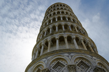 Pisa leaning tower view from the bottom